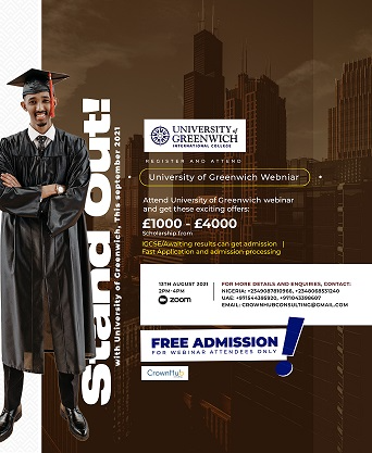 Stand Out with University of Greenwich this September 2021